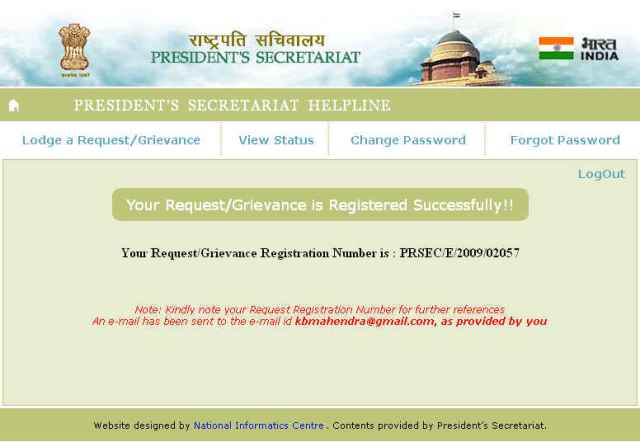Complaint Registered with President's Office.