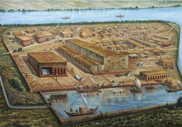 लोथल शहराचा प्लान असा होता. आर्टीस्ट ने काढलेले चित्र.